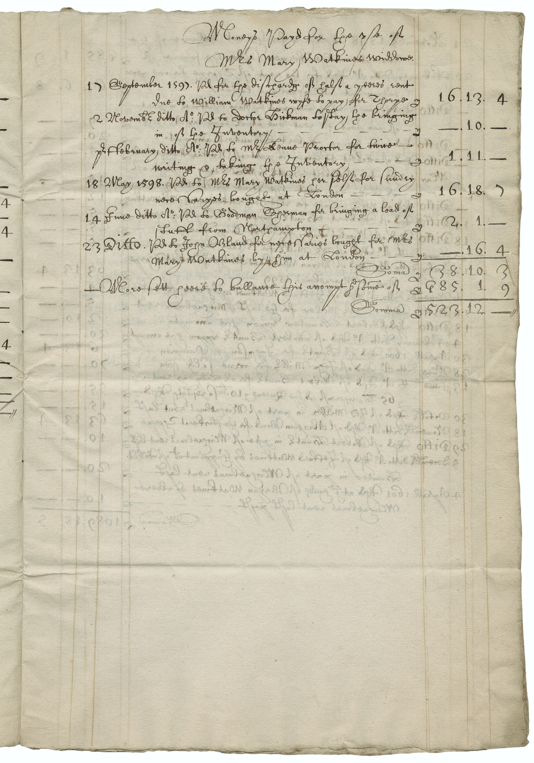 Accounts of money received for Mary Watkins