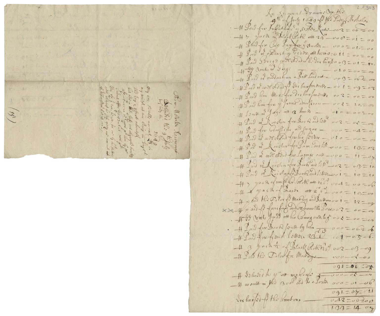Accounts of Lady Nicholas