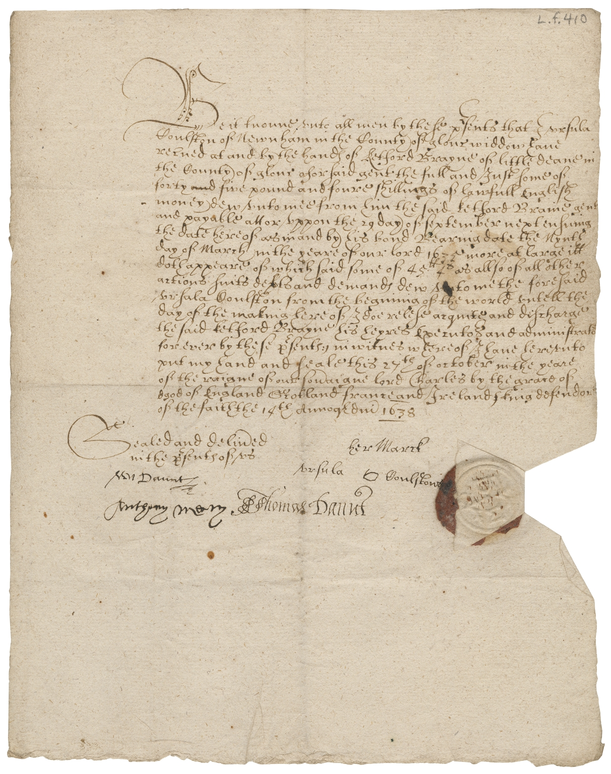 Acquittance from Ursula Coulston of Newnham, Gloucestershire to Ketford Brayne of Littledean, Gloucestershire