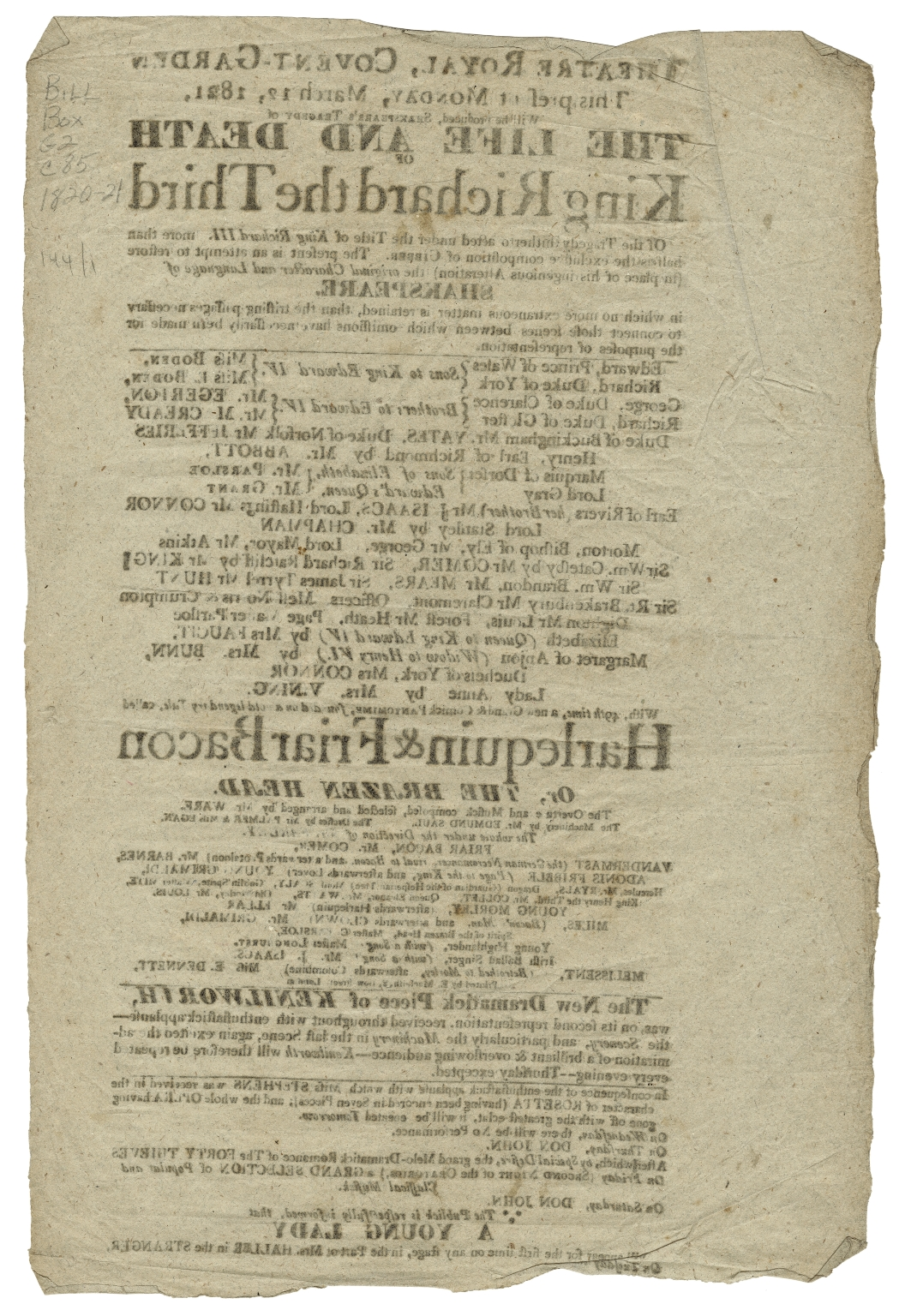 Playbills from the Royal Opera House, Covent Garden, London, 1744-1898.