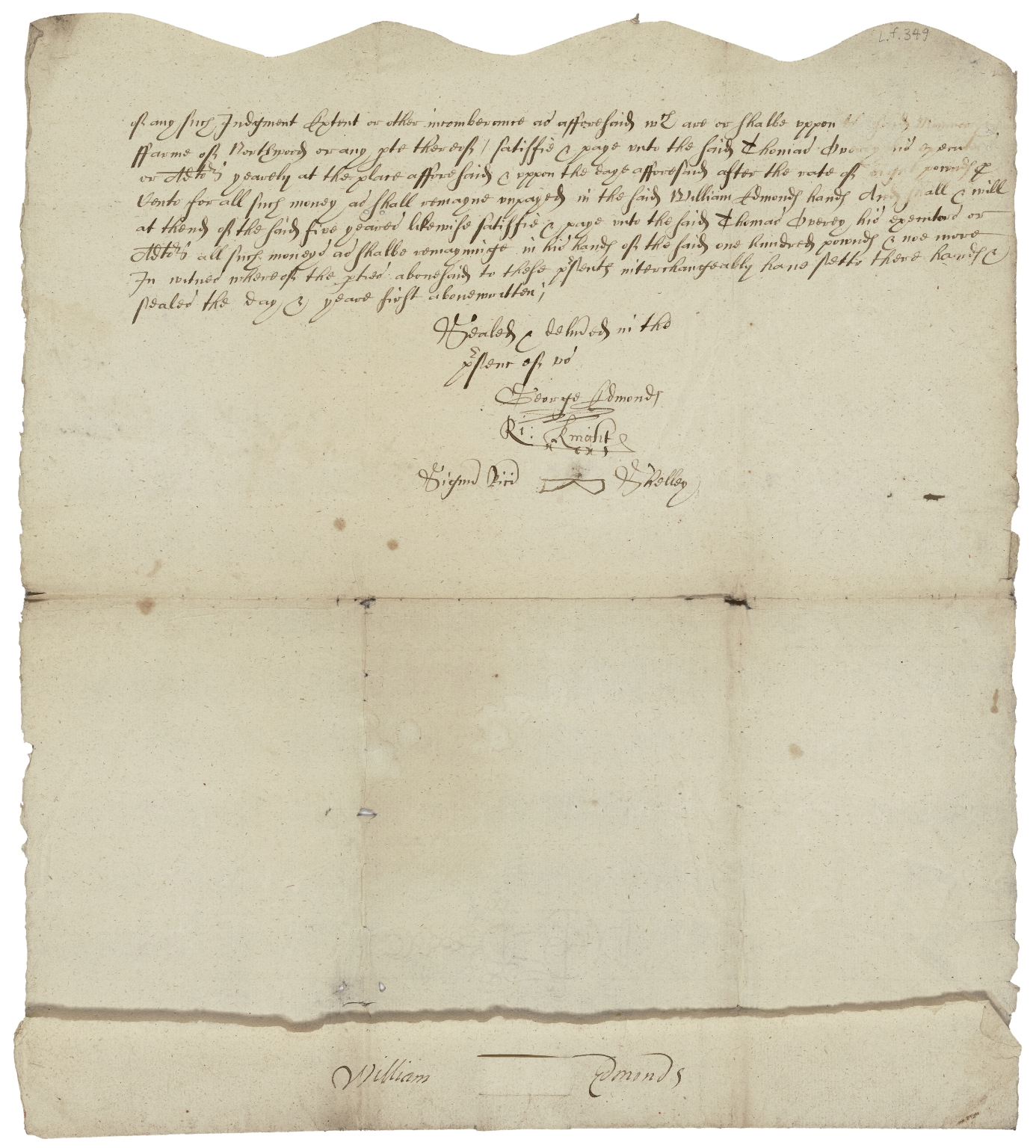 Articles of agreement between George Overey, late of Northwood in Stoughton (Sussex), and Thomas Overey, his son, of the one part and William Edmonds of Yapton (Sussex) of the other part