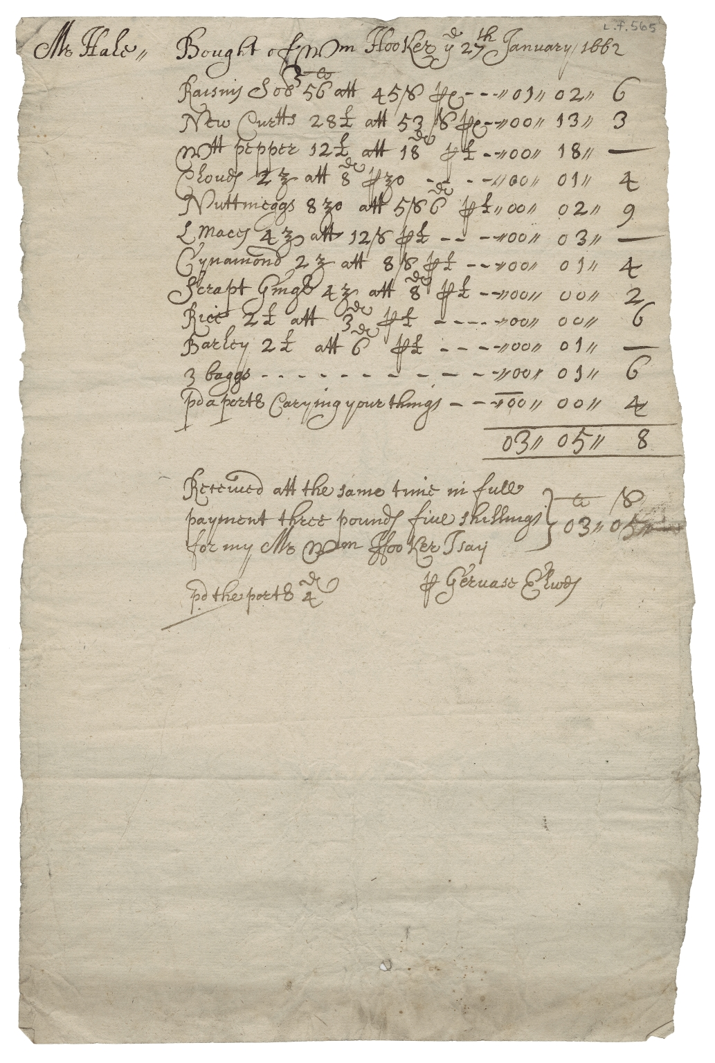 Receipted bill from Gervase Elwes to Mr. Hale for goods bought of William Hooker