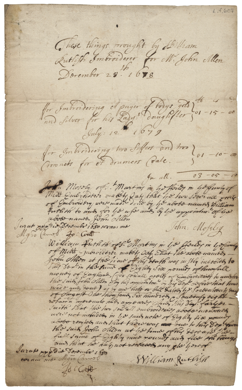 Account and affidavits concerning embroidery made by William Rutlish, embroiderer, for John Allen
