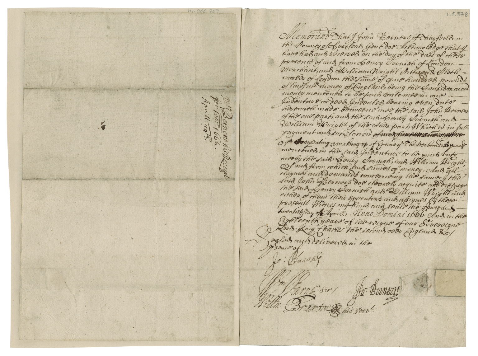 Acquittance from John Berners of Therfield, Hertfordshire to Henry Cornish, merchant of London, and William Wright, citizen and clothworker of London