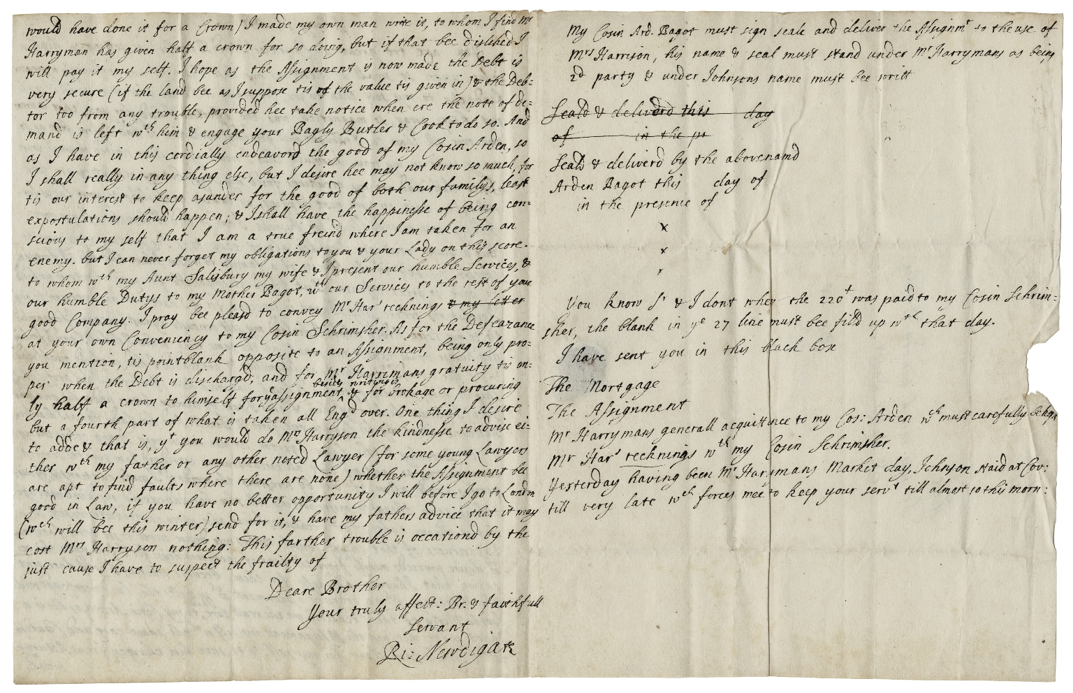 Autograph letters signed from Sir Richard Newdigate, Arbury, to Sir Walter Bagot, Blithfield