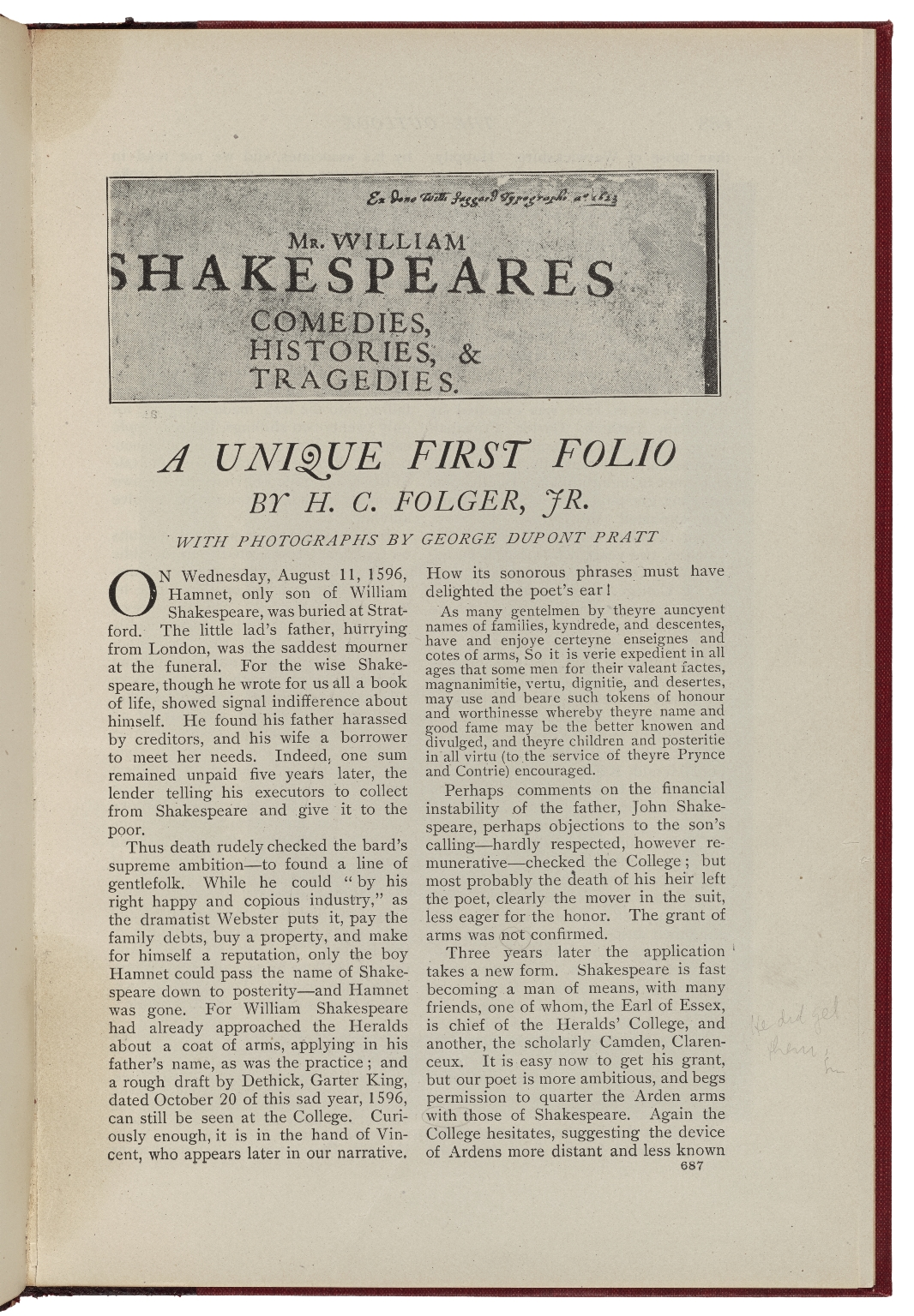 A unique first folio / by H.C. Folger, Jr. ; with photographs by George Dupont Pratt.