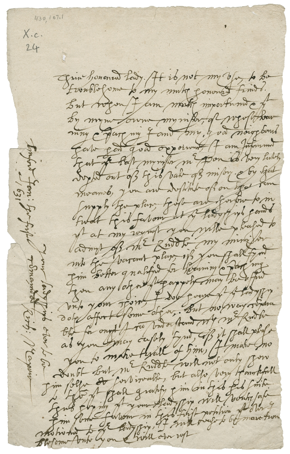 Autograph letter signed from Richard Napier, Linford, Buckinghamshire, to unidentified recipient