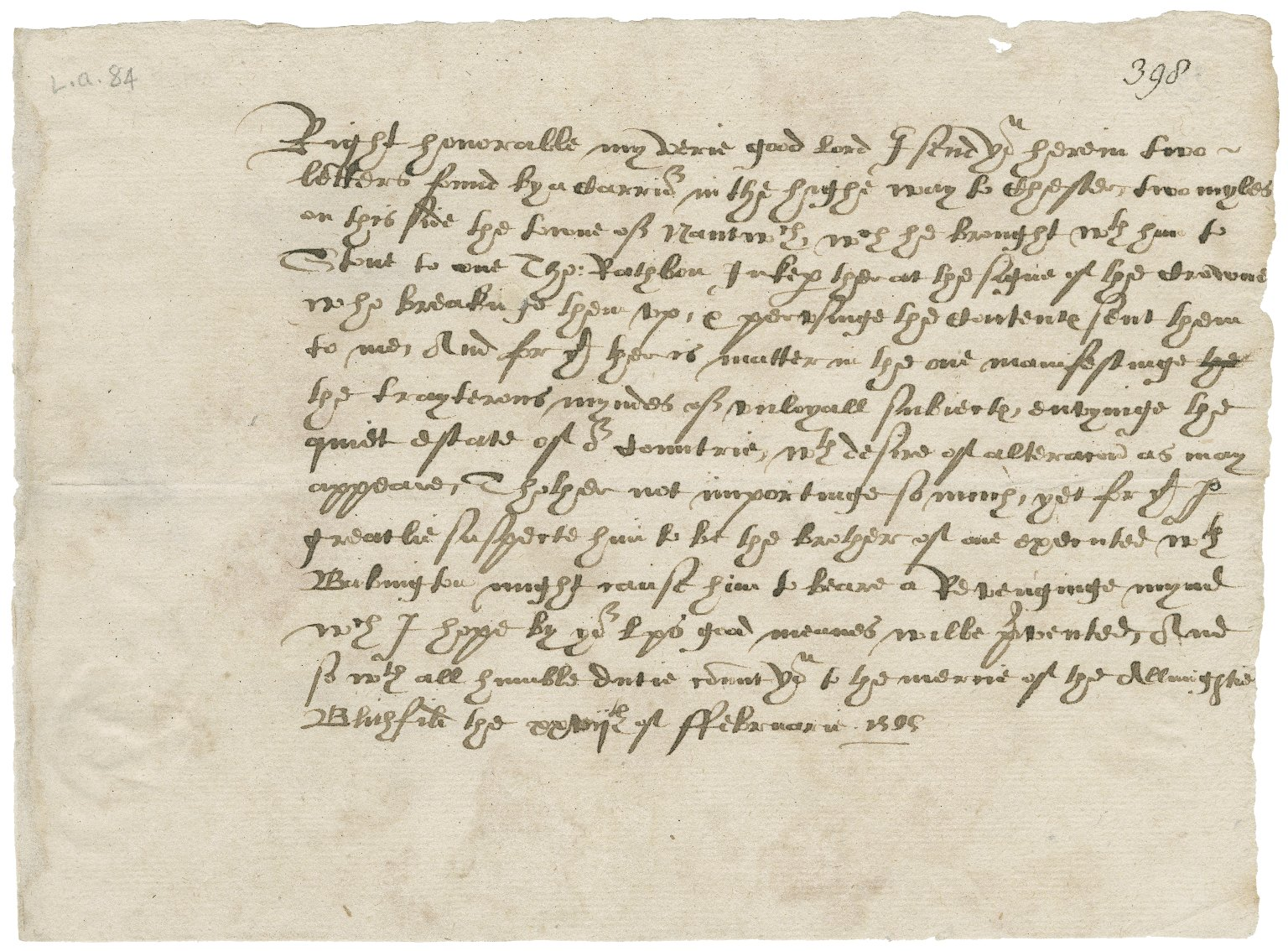 Letter from Richard Bagot to Lord Burghley
