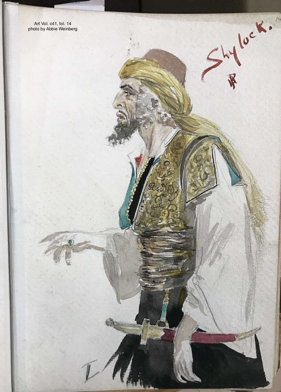 Costume designs by Percy Anderson for Arthur Bourchier's 1905 production of The merchant of Venice [graphic] / PA [monogram]