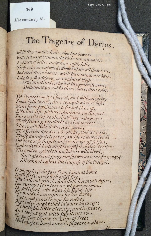 The tragedie of Darius. By VVilliam Alexander of Menstrie.