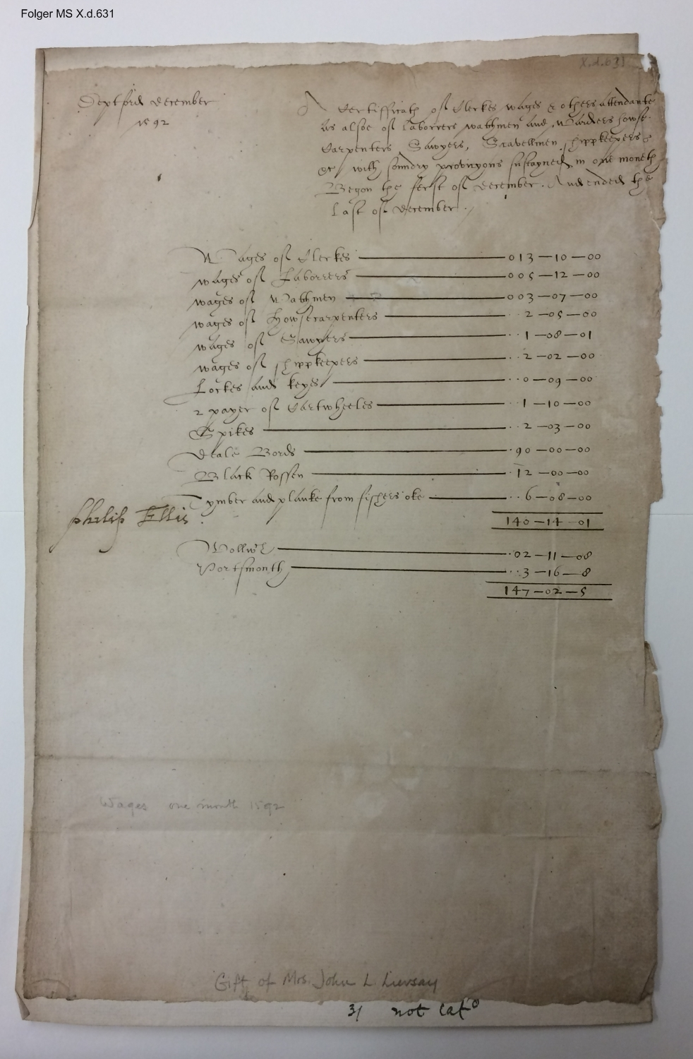 Account of wages and sundry provisions for December 1592, Deptford [manuscript], 1592 December?