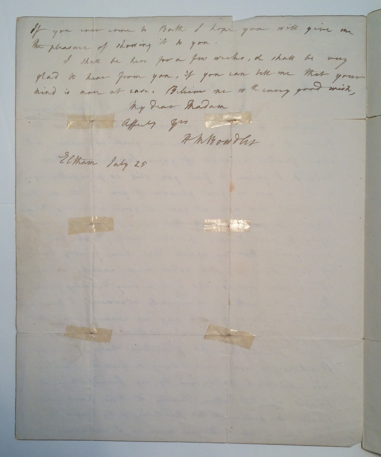 Autograph letters signed from H.M. Bowdler to various correspondents [manuscript], 1791-1825.