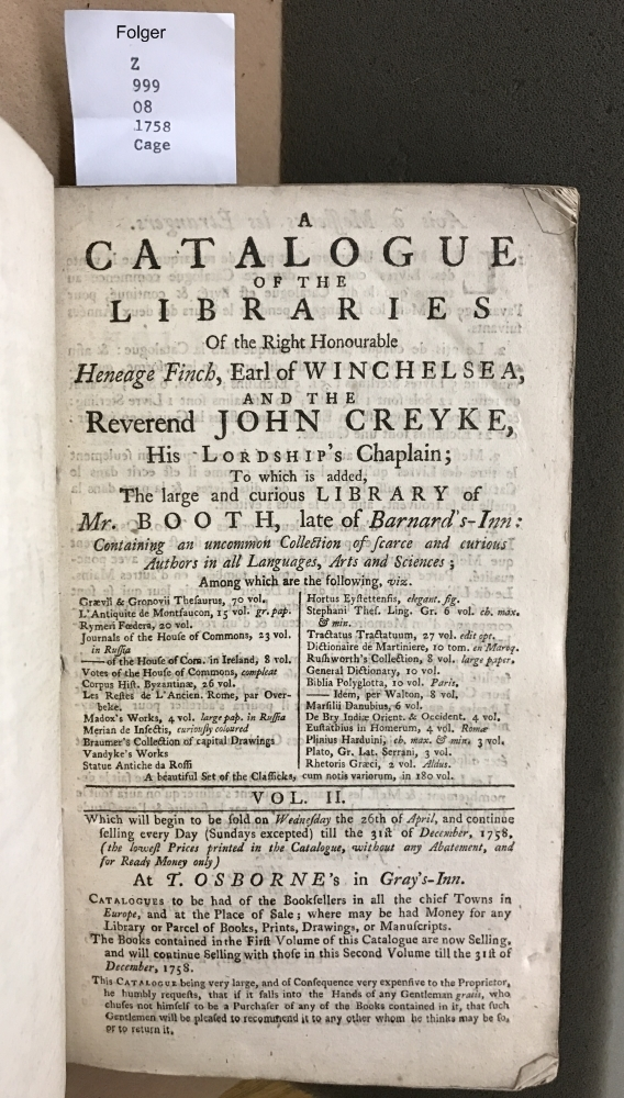 A catalogue of the libraries of the Reverend John Creyke, .. and many other considerable libraries: ... Which will begin to be sold on Monday the 2d of January, ... 1758. ... at T. Osborne's ...