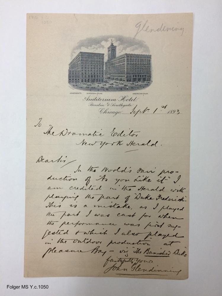 Autograph letter signed from John Glendinning, Chicago, to dramatic editor of New York Herald [manuscript], 1893 September 1.