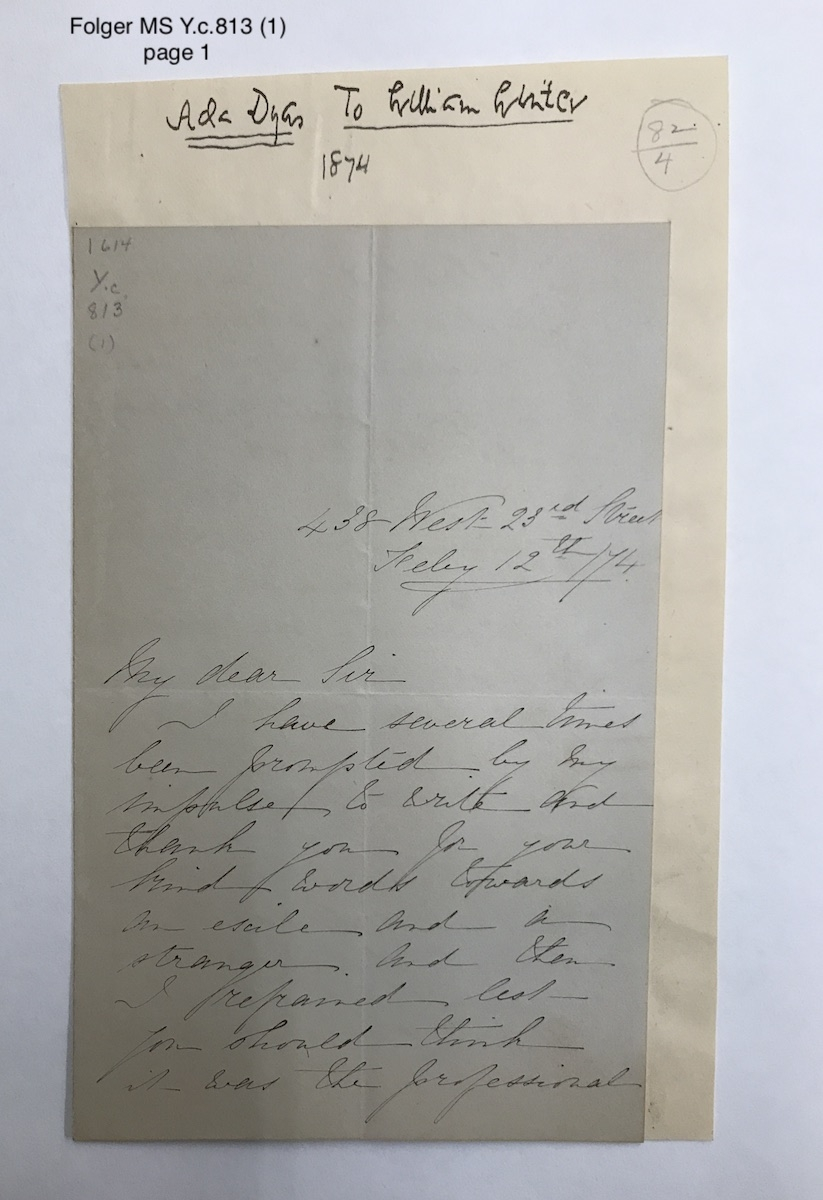 Autograph letters signed from Ada Dyas, New York City, to William Winter [manuscript], 1874-1892.
