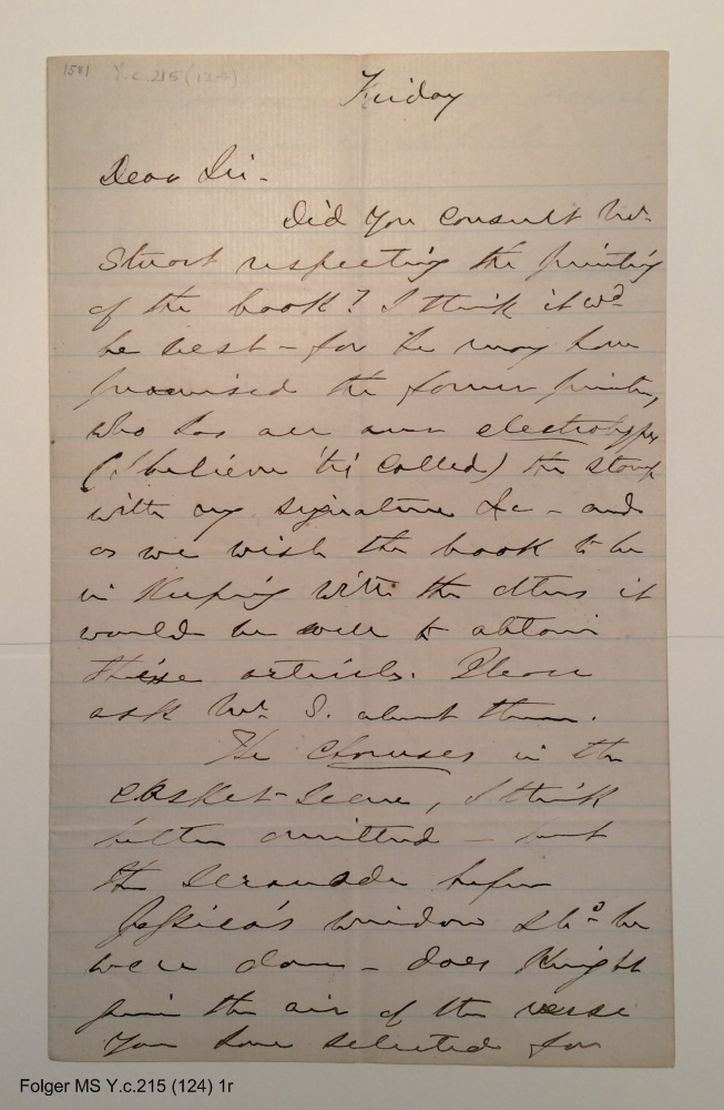 Autograph letter signed from Edwin Booth to Henry L. Hinton, 1866 Friday